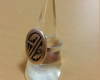 Native American Hopi sterling. Hand stamped ring. Size 8.