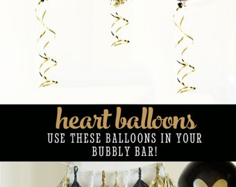 Black and Gold Balloons Gold Heart Balloons Bachelorette Balloons Engagement Party Decorations (EB3110HRT) - SET of 3 Balloons