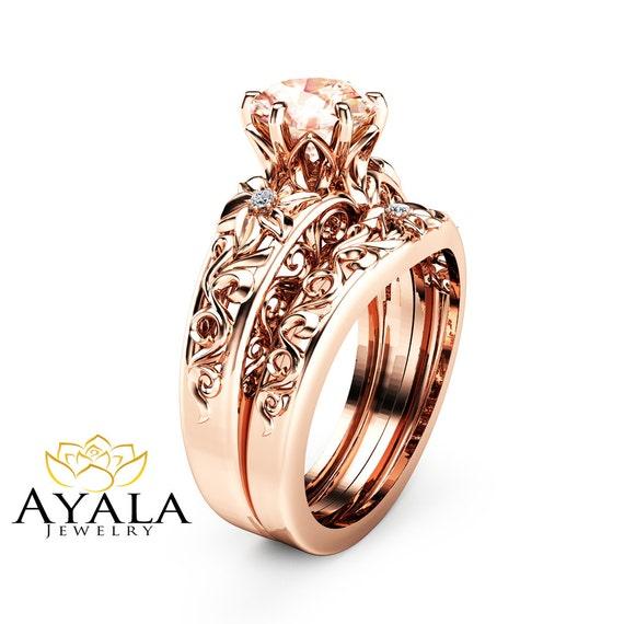 Morganite Wedding Ring Set 14K Rose Gold Morganite Rings