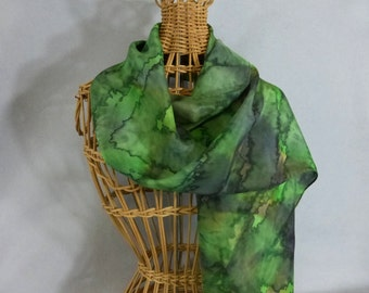 "Silk Scarf ""Bright Moss Green"", Hand Painted Silk Scarf, Green Scarf"