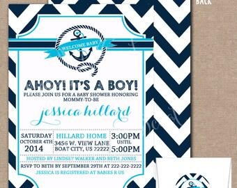 Nautical Baby Shower Invitation, Nautical Baby Shower Invite, Sailor Baby Shower Invitation, Sailor Baby Shower, Nautical Baby Shower, #0011