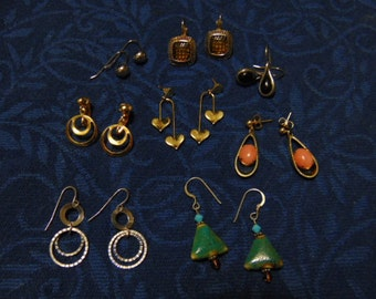 Vintage Dangle Earring Assortment/ Pierced and Clip/ 8 Pairs/ Varied Styles/ Longest 1-1/2 inches