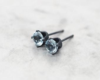 Sky Blue Topaz Oxidized Sterling Silver Ear Stud Earrings. 5mm - For Women and Men