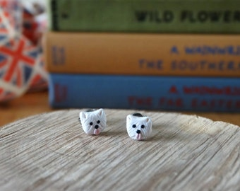 By the Shed Westie Dog Stud Earrings - West Highland Terrier - White Dog, Pet, Handmade, Present, Man's Best Friend, Dog Earrings Woof