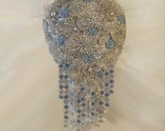Brooch Bouquet, Snowflake Bouquet,  Fantasy Wedding Bouquet, Winter Wedding Bouquet - Deposit Only - Full Price 425.00