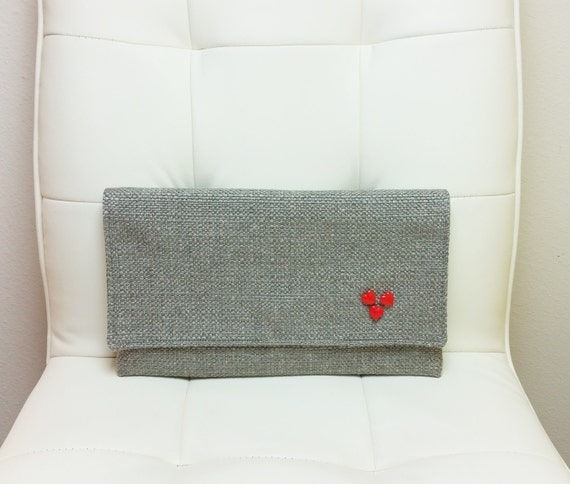 Handbag Lining Material : Clutch purse bag with vintage fabric lining heart buttons