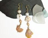 Hawaiian Shell Earrings Hawaiian Sunrise Shell and Puka Shell Dangle Earrings Beach Shell Earrings Beach Jewelry Hawaiian Jewelry (E130)