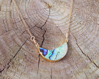Abalone Shell Crescent Moon Necklace // Gold Moon Necklace // Boho Jewelry // Bohemian Nautical Gypsy Jewelry // Unique Gift For Her