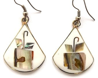 Real abalone shell dangly earrings, teardrop white with umbrella present parcel design on alpaca silver. Hand made in Brazil.