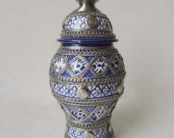 Moroccan Ceramic Lidded Jar with Hand Tooled fine Silver Nickel Filigree   8.1 inch