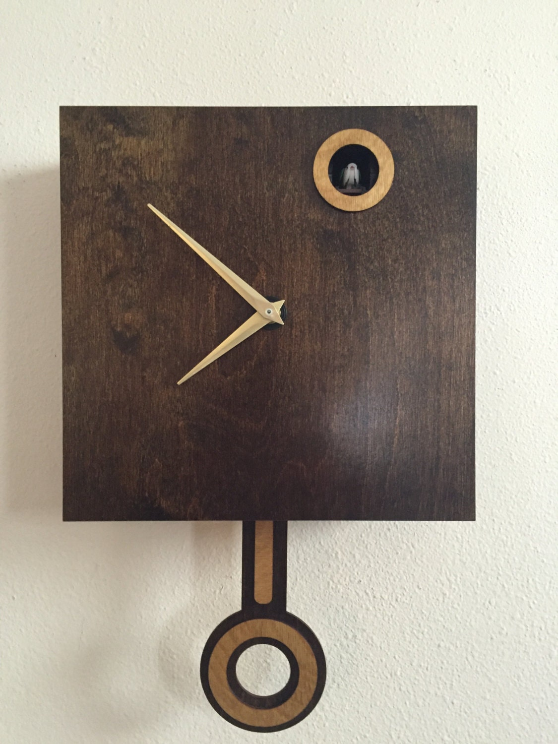 Cuckoo clock wall mount with cuckoo bird walnut by ocwoodcreations - Cuckoo bird clock sound ...