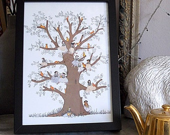 A3 PRINT of ginger cats and fairy girls perched in a tree.Lovely magical print with a golden fairy tale feel .