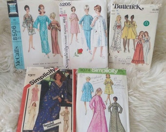 Vintage Nightgown Pattern Set size Medium 36 bust Simplicity Butterick McCall's