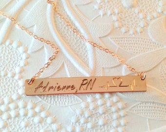 Gift for Nurse  - Heartbeat Necklace - Sterling Silver Heart beat Necklace  RN gift - doctor gift - ECG Ekg Gold Fill Gold Bar Necklace