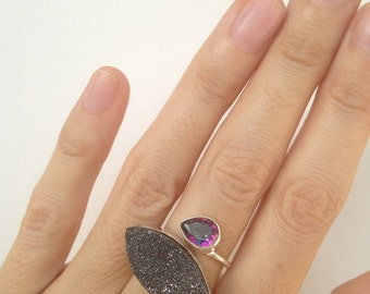 Mystic Topaz and Druzy adjustable ring set in 92.5 Sterling Silver