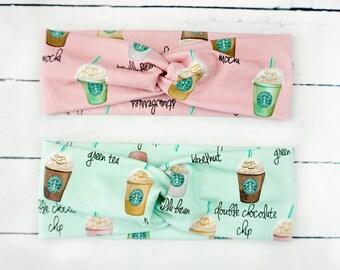 Starbucks Coffee Twisted Turban Style Headband Headwrap Mocha Latte Frappuccino Pink Mint
