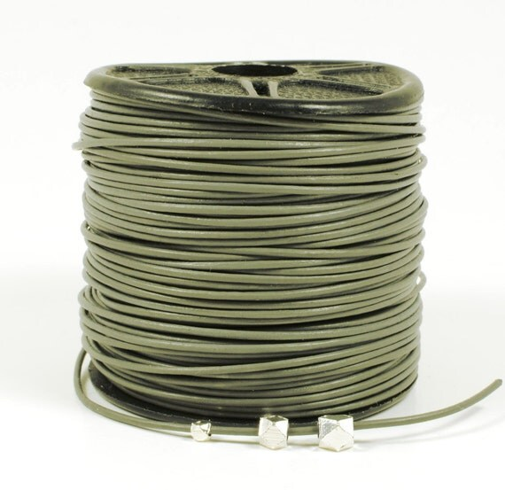 0.5mm leather cord in Gray, fine genuine leather cord - 1 yard/order