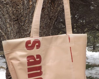 SALE Graphic Banner Bag Purse Recycled Upcycled Repurposed Brown Red