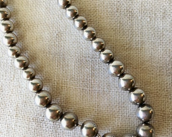 Sterling Ball Necklace, Graduated Silver Necklace, PK113