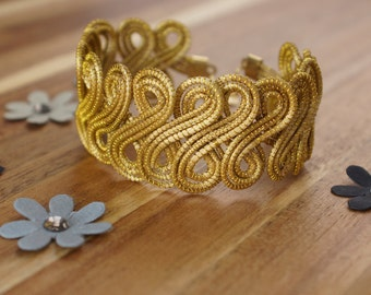 Wide Golden Cuff Bracelet, Statement Cuff Bracelet, Egyptian Cuff, Handmade, Organic Cuff Bracelet, Fiber Cuff Bracelet, Eco Friendly