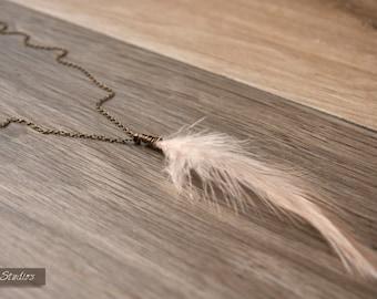 Wire Wrap Light Pink Feather Necklace LittleCanaryStudios Copper Necklace