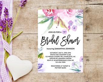 Printable Bridal Shower Invitations 5x7, Watercolor Pastel Floral Invitation, Bachelorette Party, Bridal Shower Wedding Invite, 5x7