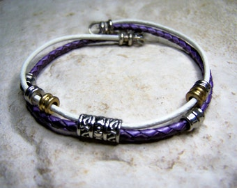 Ankle Bracelet, Purple and White, Leather Anklet, Leather Bracelet, Beach Jewelry, Anklets for Women, Size 6-12 inchs by Aeccentricsol