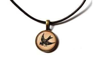 Sparrow jewelry Bird pendant Animal necklace NWR109
