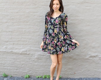 1980s 1990s Betsey Johnson Dress babydoll floral rayon S