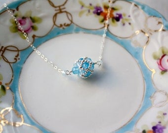 Blue Topaz and Sterling Silver beaded Pendant, Beaded Bead, Blue and Silver, Handmade Gemstone Pendant