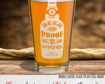 Etched Beer Pint Glass In Your Choice Of Seven Designs