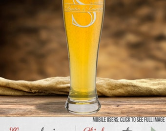 Personalized Beer Glass, Etched Pilsner Beer Glass