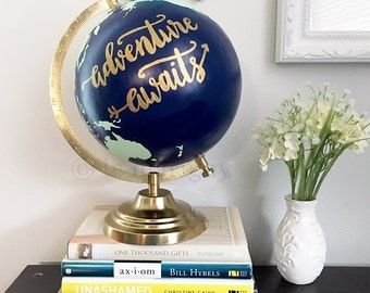 Painted Globe, Adventure Awaits, World Map Globe, Wedding Guestbook, Nursery Decor, Hand Lettered Globe, Travel Globe