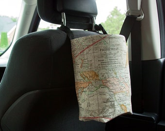 Vehicle Trash Bag with Liner, Multi, Car Trash Bag, Tim Holtz World Map Print, Ready To Ship
