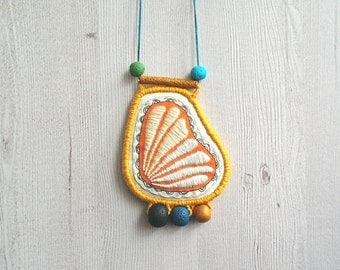 Contemporary embroidery necklace, embroidered pendant asymetric necklace modern embroidery jewelry statement big pendant necklace fiber art