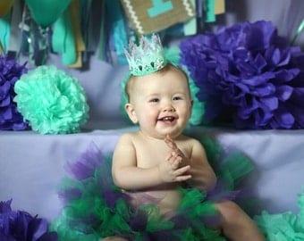 Under the Sea Highchair Banner, Mermaid Party, 1st Birthday Banner, Cake Smash Photo prop, Elsa Anna High Chair, Purple Mint Aqua Lavendar