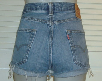 Vintage Levis 501 High Waisted Cut Off Blue Jean FESTIVAL Shorts~14~