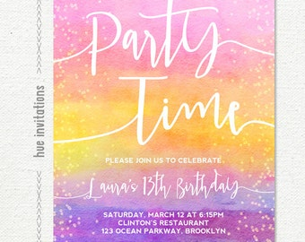 girls birthday party invitation, rainbow pink yellow purple watercolor teen birthday invite, customized digital printable file