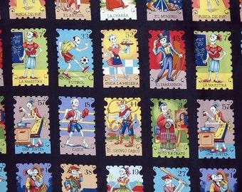 SALE Cartas Marcadas 7666G Folklorico; Half Yard, or By The Yard; Alexander Henry; Marked Cards, Skeletons