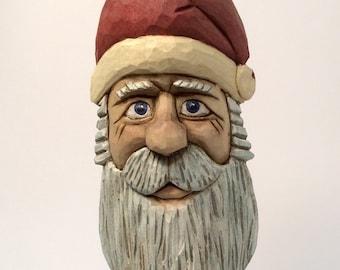 Hand Carved Santa Ornament