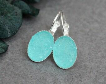 Mint Drop Earrings, Mint Earrings, Turquoise Earrings, Green Earrings, Turquoise Druzy Earrings, Turquoise Drop Earrings, Green Drop Earring