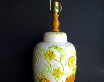 Vintage 1950s Lamp Ceramic Floral / Mid Century / Lighting / Hand Painted / Accent Lamp / Vintage Lamps / Home Decor / Retro Lighting