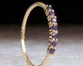 Amethyst Half Eternity Ring - purple stone Ring