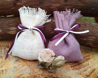 Colored Favor Bags - Burlap Favor Bags - Rustic Favour Bag - Burlap Wedding Gift Bag - Wedding Memento - Set of 40 - Choose colour