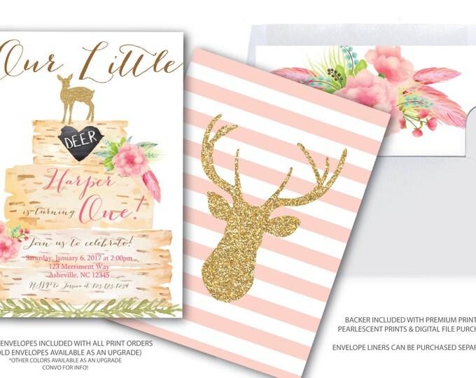 Little Deer Invitation / Oh Deer / Girl / First Birthday / One / Pink / Boho / Birch / Woodland / Gold Glitter / ASHEVILLE COLLECTION