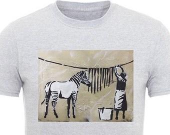 Banksy Zebra Washing Line T-Shirt