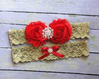 Red Wedding Garter, Bridal Garter Set, Keepsake, Toss, Throw Garter, Gold Wedding, Red and Gold, Red Wedding, Gold Garter