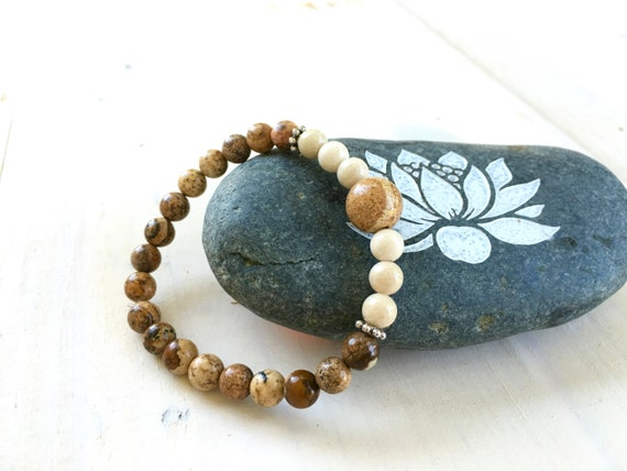 Picture Jasper Mala Bracelet, Match Your Mala, Yoga Jewelry, Boho Stretch Bracelet, Casual Beach Bracelet