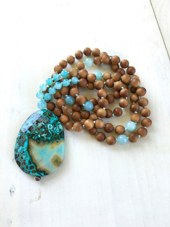 Ocean Jasper Mala Beads, Sandalwood Mantra Mala, Healing Mala Beads, Knotted 108 Bead Mala, Yoga Meditation Beads, Mantra Meditation Beads