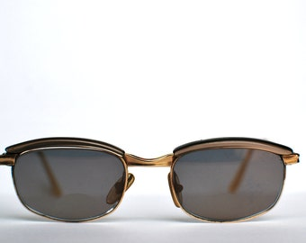 1960's/70's Black and Gold Wayfarer Style Sunglasses with Floral Case
